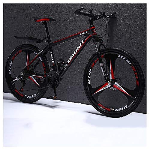 COSCANA Bicicleta De Montaña, MTB 26 Pulgadas Bicicleta De 24-27 Velocidades, Marco De Acero De Alto Carbono con Suspensión Delantera, Bicicleta De CarreteraRed-24 Speed