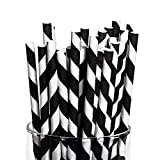 Black and White Striped Paper Straws - 24 Pack - Party Supplies