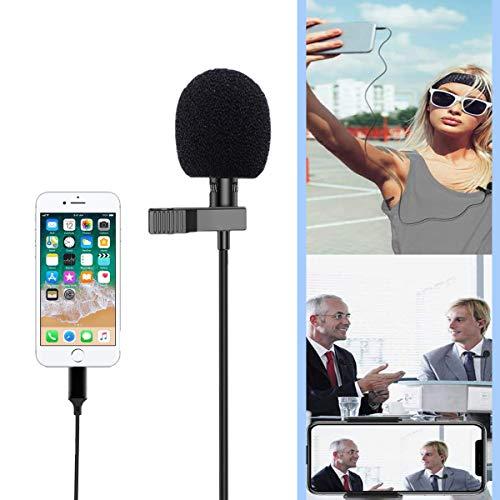 Lavalier Mikrofon, Ansteckmikrofon mit 1.8m Verlängerungskabel und Kondensator, Perfekt für iPhone/Recording Interview/Conference/Podcast/Live-Übertragung/Handy K Lied