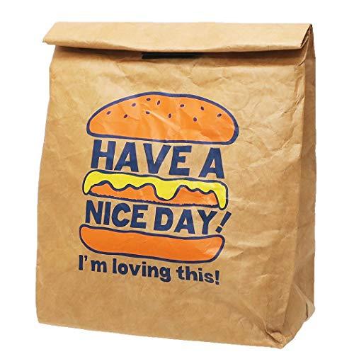 [保冷 ランチバッグ]紙袋風ポーチ/ハンバーガー