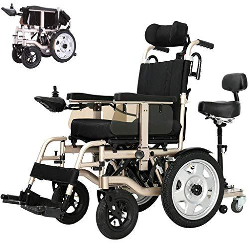 L.TSA Silla de Ruedas eléctrica de Servicio Pesado, Silla de Ruedas eléctrica Plegable 250W * 2 Motor Doble Palanca de Mando de 360 ° Adaptarse a una Variedad de pavimentos Ancianos discapa