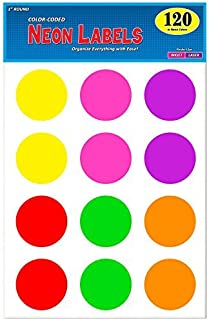 Pack of 120, 2 Inch Multi-Color Round Color Coding Labels for Laser and Inkjet Printers, 2