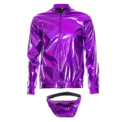sowest 70er Jahre 80er Jahre 90er Jahre Folie Metallic glänzend Rave Bomberjacke Hologramm Festival Kostüm lila