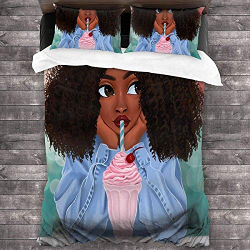 KDRW Black American Girl Love Drink Duvet Cover Bedding Sheet Set, 3 Piece Set Comfy Luxurious(Duvet Cover + 2 Pillowcases)