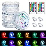 Submersible Lights 16 Colors IP68 Waterproof Underwater Pool Lights 13 LED Pond Lights Remote (RF) Battery Powered Party Lights with Suction Cups, Magnets,Ground Insertion Aquarium Fountain Lights