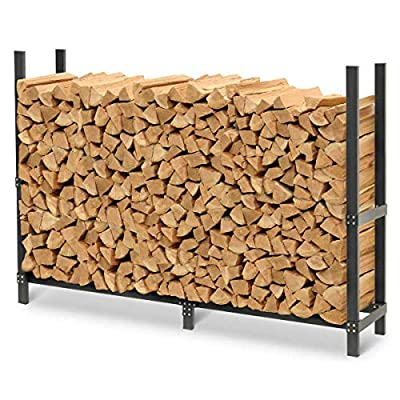 """Pilgrim Home and Hearth Pro 72"""" Outdoor Firewood Rack Wood Holder with Cover, Durable Black Powder Coat from Pilgrim Home and Hearth"""