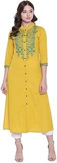 Divena Mustard Embroidered Khadi Straight Kurta