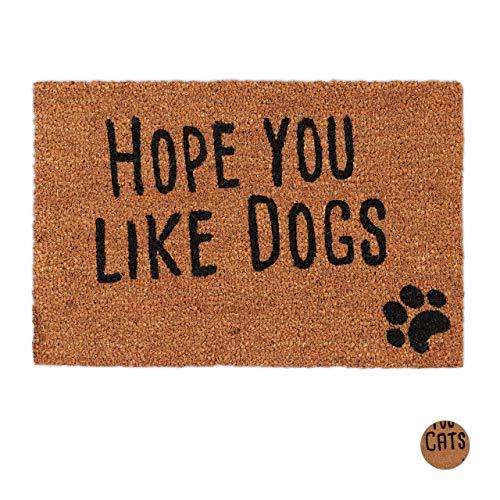 Relaxdays Felpudo Exterior Antideslizante Hope You Like Dogs, Fibra de Coco-PVC, Negro, 40 X 60 Cm
