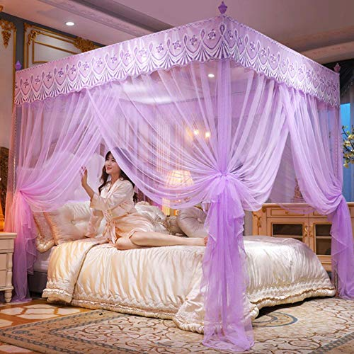 ZPN Vorhang Vorhang Baldachin Moskitonetz Abwehr für Einzelbett Doppelbett Zelt (ohne Halterung), violett, 1.5x2x1.9M