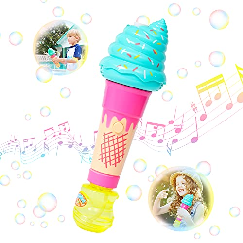 Tinleon Ice Cream Bubble Wand: Cute Portable Bubble Maker for 3+ Kids, Battery-Driven Bubble Toys with High Output in Summer Outdoors