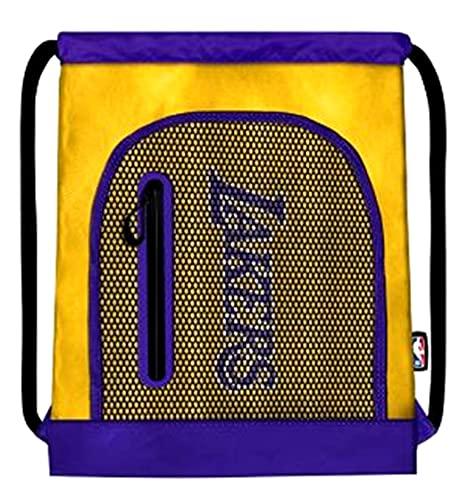 NBA - Bolsa de gimnasio Los Ángeles Lakers con elástico y cremallera + llavero silbato de regalo