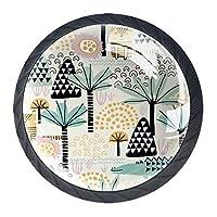 ネジ付きドレッサー引き出し用4個の黒いキッチンキャビネットノブ丸い家の装飾-サファリ動物シームレスパターンかわいいシマウマ