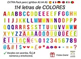 Pack de 114 Letras Decorativas en VARIOS COLORES para Cajas de Luz Led o Lightbox A4 y compatible con el Tamaño A5 y A3. Vocales Acentuadas y Emojis. (Sin Caja Luz)