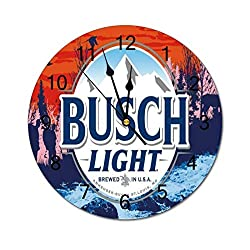 VinMea Decorative Wall Clock Busch Light Flag Cool Beer Funny Wall Clock Round Silent Non Ticking for Office,Kitchen,Bedroom,Living Room 12 Inches