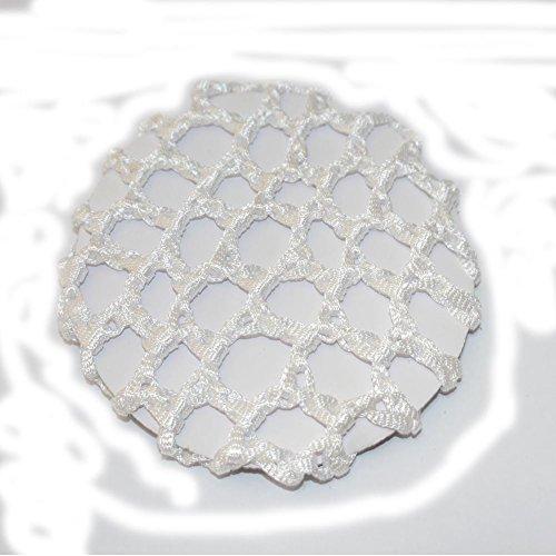 Blanc brillant élastique Chignon Net 10 cm