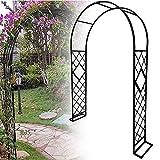 Kymzan Arcos de jardín de metal para jardín con arco redondo de 20 mm de diámetro, para pérgola de jardín, para plantas trepadoras de rosas, fácil de montar, color negro - 140 cm