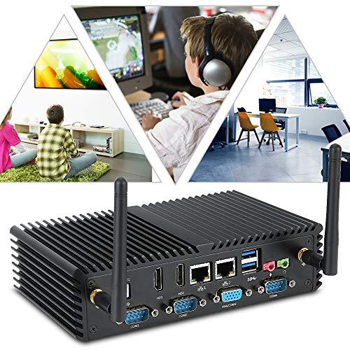 ASHATA Mini industriële computer i5 4200U Dual-Core 6COM met dual HDMI, Mini PC 300 Mbit/s Dual Band WiFi Mini Computer Host-Support Boot, Watchdog Timer, zwart