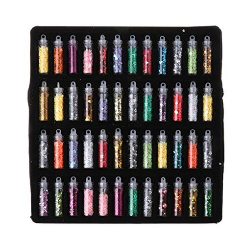 Yalulu 48 Stück Transparentes Glitters Pailletten Aufkleber UV-Epoxidharz Epoxy Harz Schmuck Dekorationsset
