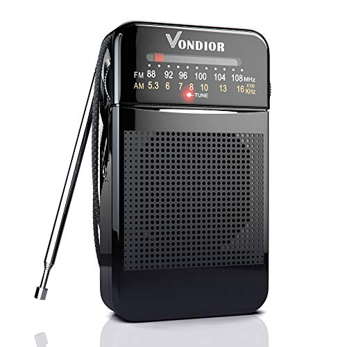 AM FM Radio Portable - Best Reception and Longest Lasting. AM FM Transistor Radios Player Operated by 2 AA Battery, Mono Headphone Socket, by Vondior