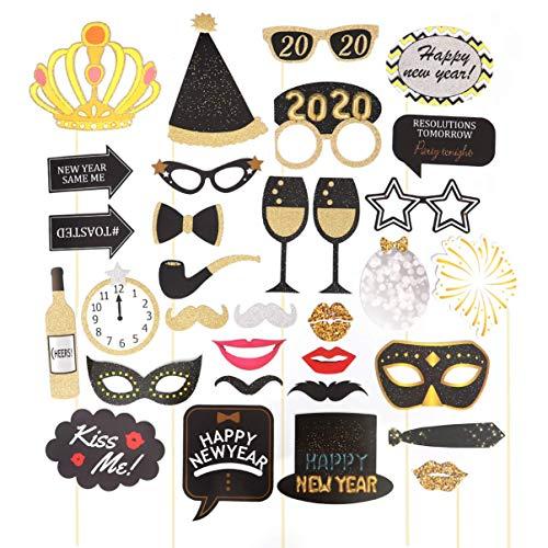 Losuya Puntelli della Cabina della Foto del Partito di Capodanno 2020 Kit 32 Pezzi Fai-da-Te per Forniture per Decorazioni per Feste di Capodanno