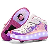 Nsasy Roller Skates Shoes Girls Boys LED USB Charge Wheels Sneaker