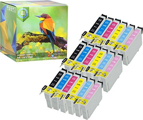 Ink Hero Paquete de 18 Cartucho Epson Stylus Photo P50 PX650 PX660 PX700W PX710W PX720WD PX730WD PX820FWD PX830FWD R265 R285 R360 RX560 RX585 RX685 T0807 T0801 T0802 T0803 T0804 T0805 T0806