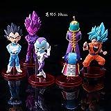 WEIbeta 6 Unids/Set Dragon Ball Z Goku Dios con Dios Vegeta Blue Goku Super Saiya Q Ver. Figura de acción DBZ PVC Modelo de Juguete 5-10cm