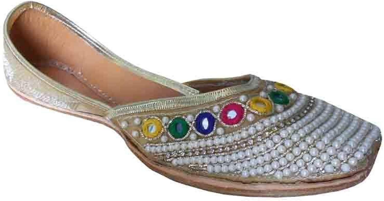 Kalra Creations Mojari Indian Wedding Handmade Women shoes Leather Flip-Flops Flat