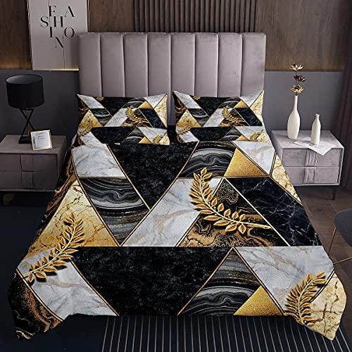 Gelbbraunes Dreieck Tagesdecke 170x210cm Gelbe Blätter Steppdecke für Kinder Jungen Mädchen Geometrische Figur Weichste Bettwäsche Set Tagesdecke Bettbezug 2St