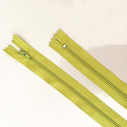 10 piezas 10-60 cm (4 pulgadas-24 pulgadas) Cremalleras de nailon en espiral Tailor Sewer Craft Crafter's (20 colores) - Verde hierba, 10 piezas, 20 cm