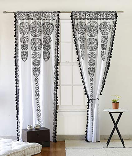 """Moroccan Medallion Floral Ombre Mandala Window Curtains Tapestry Indian Drape Balcony Room Decor Divider Sheer Wall Hanging with Pom Pom Lace (41"""" W x 87"""" L, White-Black-Lace)"""