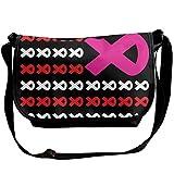 Fight Breast Cancer Awareness Support US Flag rosa nastro tracolla borsa a tracolla per uomo donna borsa messenger borsa alla moda per lo shopping, studenti studio e affari