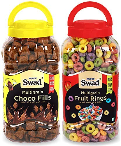 Fruit Rings & Choco Fills Combo of 2 Jars (Chocos Fill and Frooty Loops Breakfast Cereal for) Jar 650 g