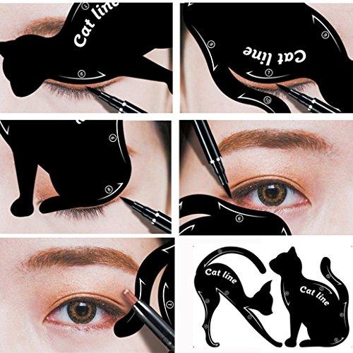 12shage Eyeliner Schablone Katze Form Cat Eyeliner Vorlage Smoky Lidschatten Applikatoren Augen...