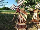 WINDMÜHLE WETTERFEST, Garten- und Teich-Windmühle 100 cm, zweistöckig MIT 2 BALKONEN, garten Windmühlen Teichbau Wegeleuchten Windspiel Wetterfahne, Windfahne / Windrad o. SOLAR o. Beleuchtung Latern