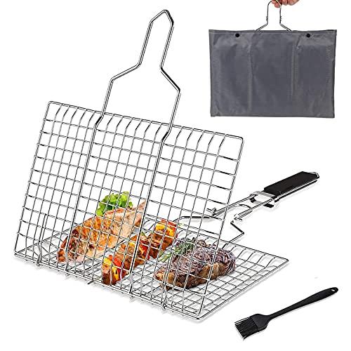 AGRYMER Cestello per Grigliate per Barbecue, Griglia in Acciaio Inossidabile Rimovibile E Pieghevole Perfetta per Grigliare Verdure Pesce Carne (Quadrato)