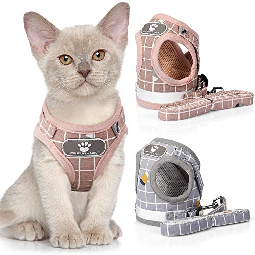 2 Pieces Cat and Puppy Harness and Leash Set Plaid Mesh Harness Comfortable Puppy Walking Outfit Adjustable Pet Vest Outdoor Reflective Dog Harnesses for Puppy Cat Dog Kitten (M)