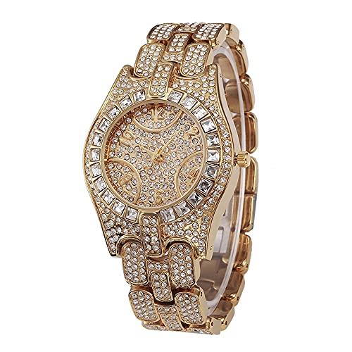 KLFJFD Señoras Temperamento Casual Rhinestone Reloj De Cuarzo Impermeable Chica Moda Personalidad Aleación Banda Regalo De Cumpleaños Reloj De Moda