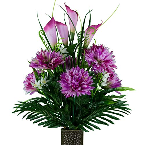 Sympathy Silks Artificial Cemetery Flowers - Realistic - Outdoor Grave Decorations - Non-Bleed Colors, and Easy Fit - Lavender Fuji Mum with Calla Lily - with Flower Holder