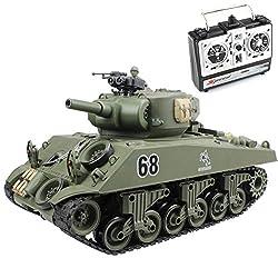 powerful Fisuka RC tank, 2.4 GHz 15 channel 1/20 Sherman M4A3 RC main tank, air gun shoot …