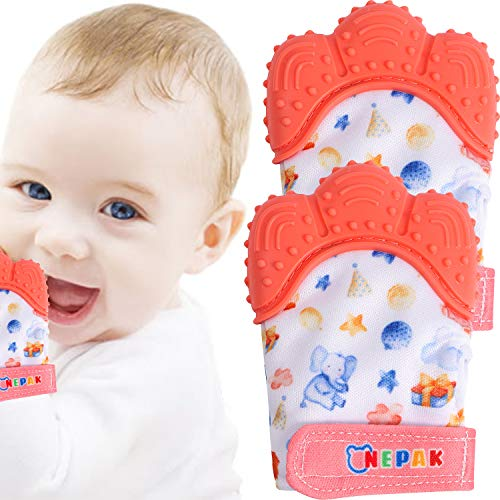 NEPAK 2 Pack Baby Teething Mitten,Baby Beißhandschuhe,Knisternder Handschuh für Babys,Age 3-12 Months(Cartoon Stil,Coral Colours)