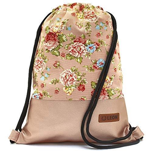 Leon By Bers Turnbeutel mit Innentaschen Rucksack Tasche Damen Herren Teenager Gym Bag Gym Sack (rosarose_RosaPu)
