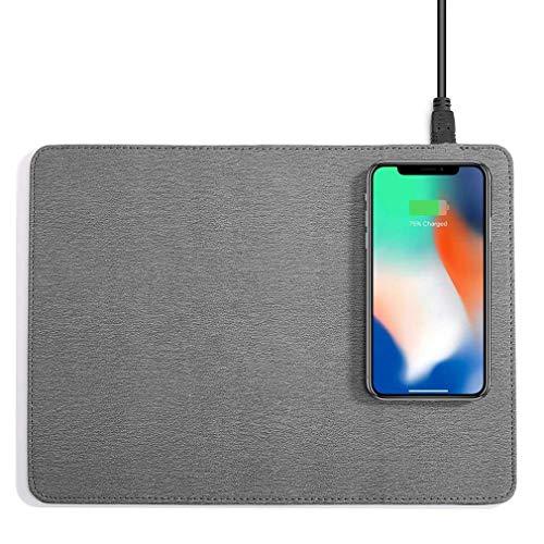 Mouse Pad, Mobiele Telefoon Qi Draadloze Oplader Opladen Muismat Mat - Voor Iphone X / 8 8Plus Voor Samsung S8 Plus / S7 S6 Edge Toelichting 8 Note 5,Gray