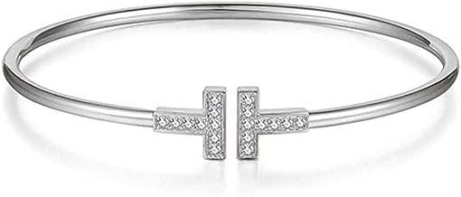 YINLIN Simple Double T Cuff Rhinestore Crystal Bracelet Jewelry for Women Girls