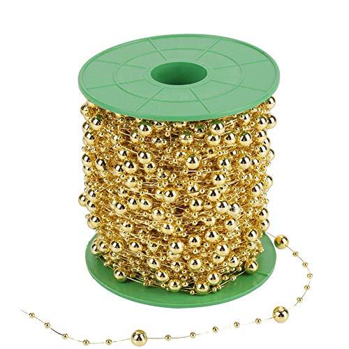 Perla perline, 60 m/rotolo placcato elettrolitico filo perline perline per la decorazione della festa nuziale fai da te per l'albero dei fiori ghirlanda bouquet nuziale 3mm + 8 mm(d'oro)