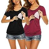 UNibelle Camiseta de lactancia de manga corta para mujer, para embarazo, maternidad, tallas S-XXL, 2-black & Winerred, XL