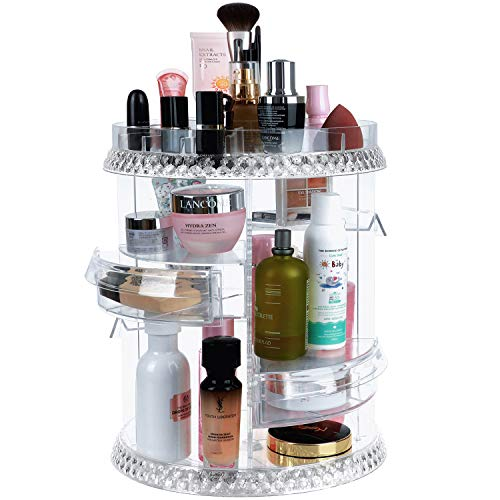 Makeup Organizer Rotation 360 Degree, 7 Layers Adjustable Storage, Different Kinds of Cosmetics, Multi-Function Large Capacity Makeup Storage Organizer, Great for Bathroom Dresser Vanity with Drawers