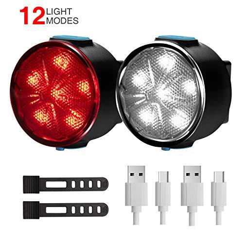 Fahrradlicht LED Fahrradlichter Set - 12 Licht Modi Frontlicht und Rücklicht Fahrradbeleuchtung, USB Wiederaufladbar Fahrradbeleuchtung Set mit IPX5 Wasserdicht Perfekt für Radfahren