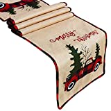 Senneny Burlap Christmas Table Runner, Embroidered Merry Christmas, Red Truck Tree 100% Jute Rustic Christmas Table Runner for Christmas Holiday Birthday Party Table Home Decoration, 14 x 72 Inch