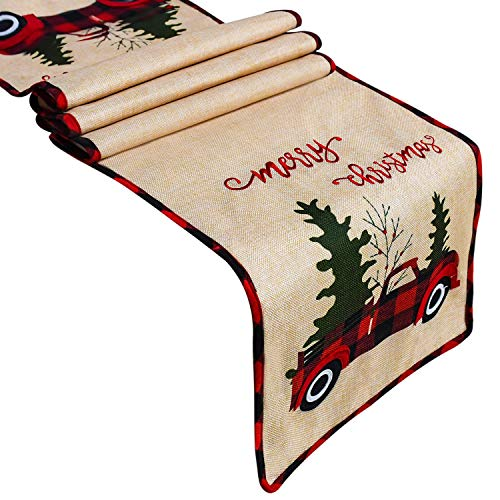 Senneny Burlap Christmas Table Runner, Embroidered Merry Christmas, Red Truck Tree Rustic Christmas Table Runner for Christmas Holiday Birthday Party Table Home Decoration, 14 x 72 Inch (Red)